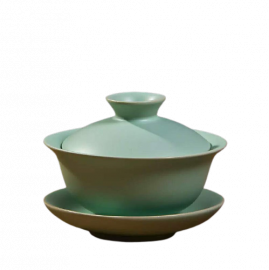 Chinese Porcelain Gaiwan Tea Cup with Ru Ware Celadon Technique