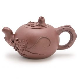 Yixing Zisha Clay Teapot Carved with Grapes and Squirrels Pattern